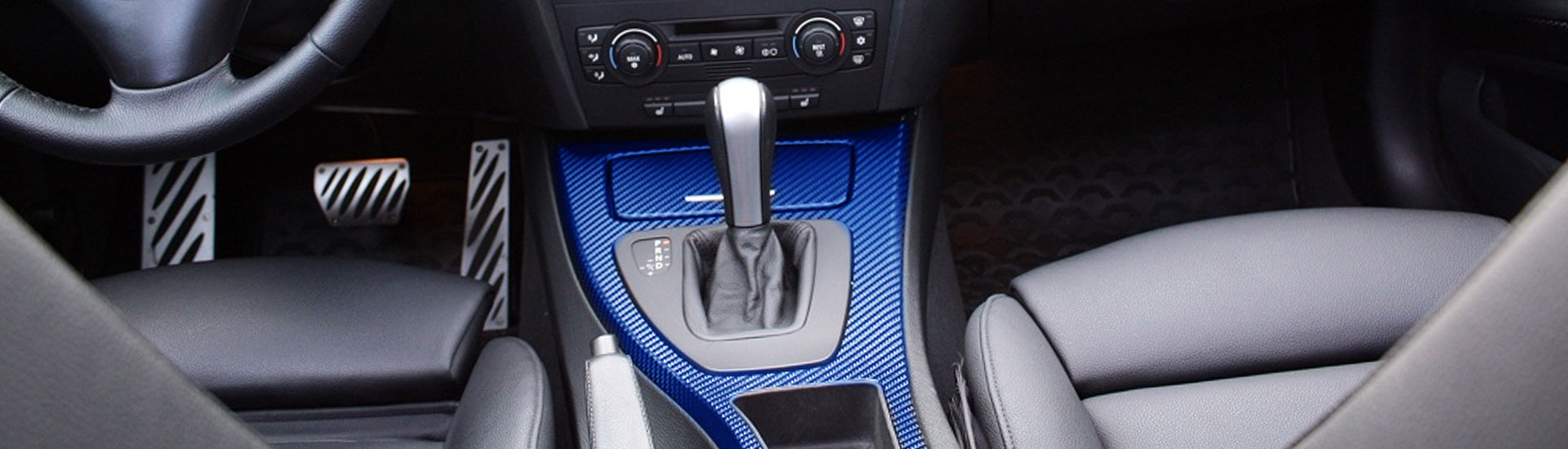 Blue carbon fiber dash kit