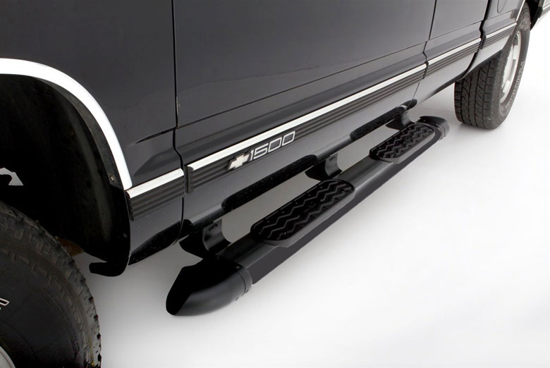 "2002 Chevrolet  S-10 Step Rails Black Running Boards (Extended Cab W/ Fender Flares) (54"")"